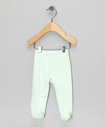 Light Green Organic Footie Pants - Infant
