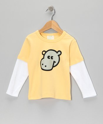Yellow Hippo Organic Layered Tee - Toddler