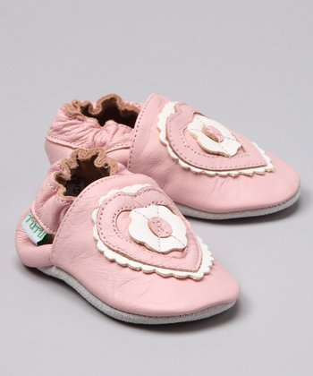 Pink Heart Leather Booties