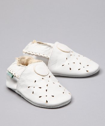 White Little Princess Leather Booties