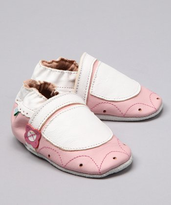 Pink & White Leather Booties