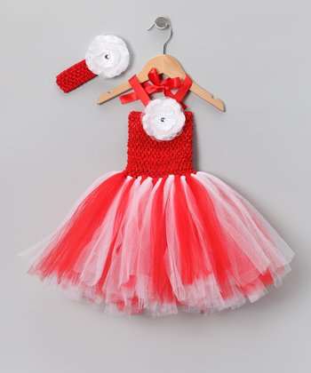 Red & White Tutu Dress & Headband - Infant & Toddler