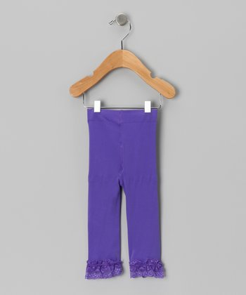 Light Purple Velvet Lace-Trim Leggings - Toddler & Girls
