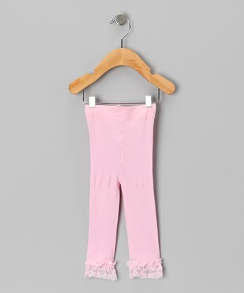Pink Velvet Lace-Trim Leggings - Toddler & Girls