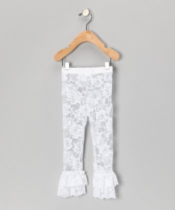 White Floral Lace Leggings - Toddler & Girls