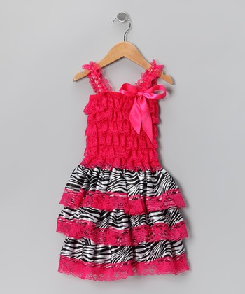Hot Pink Zebra Ruffle Dress - Infant & Toddler