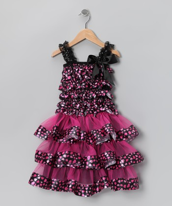 Dark Purple Heart Ruffle Dress - Infant, Toddler & Girls