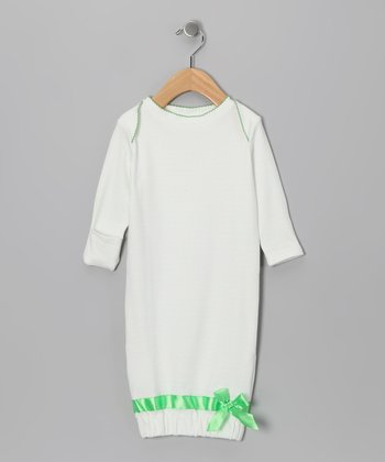 White & Green Organic Gown - Infant