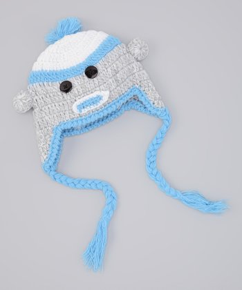 Blue Sock Monkey Earflap Beanie