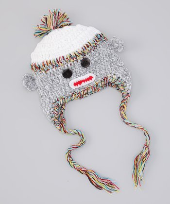 Gray Sock Monkey Earflap Beanie