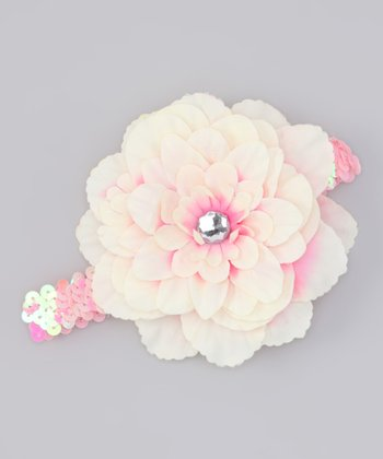 Cream & Pink Sequin Flower Headband