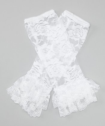 White Lace Ruffle Leg Warmers
