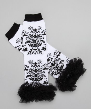 White & Black Damask Ruffle Leg Warmers