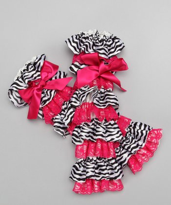Red & Zebra Ruffle Bow Leg Warmers