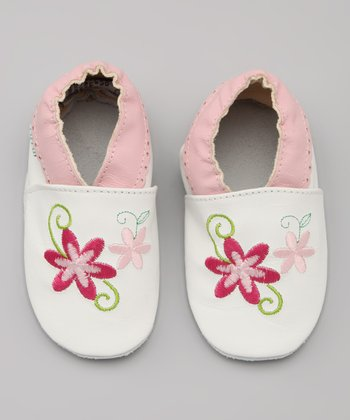 White & Pink Flower Leather Booties