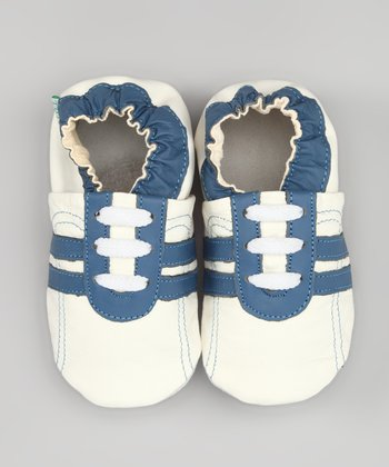 White & Blue Stripe Leather Sneaker Booties
