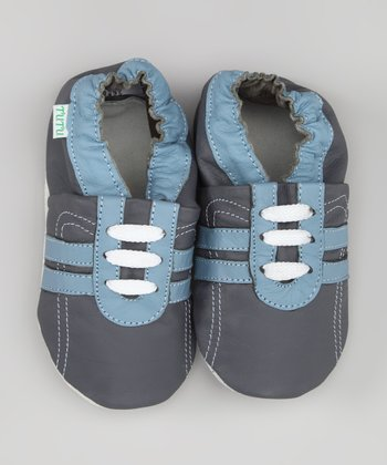 Blue & Gray Stripe Sneaker Leather Booties