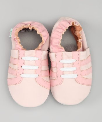 Pink Stripe Leather Sneaker Booties
