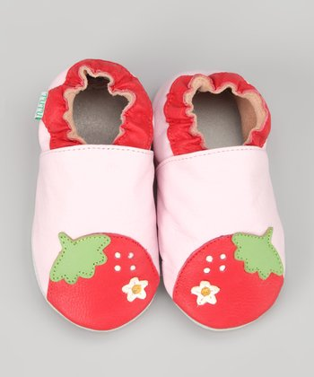 Red & Pink Strawberry Leather Booties