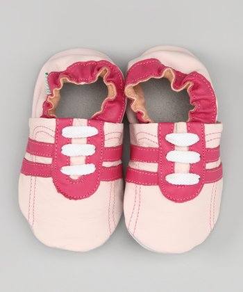 Hot Pink & Light Pink Stripe Sneaker Leather Booties