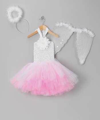 White & Pink Angel Tutu Dress-Up Set - Toddler & Girls