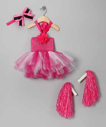 Hot Pink Cheerleader Tutu Dress-Up Set - Infant