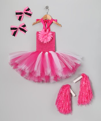 Hot Pink Cheerleader Tutu Dress-Up Set - Toddler & Girls