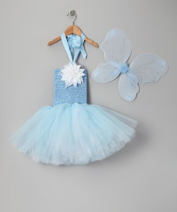 Light Blue & White Fairy Tutu Dress & Wings - Toddler & Girls