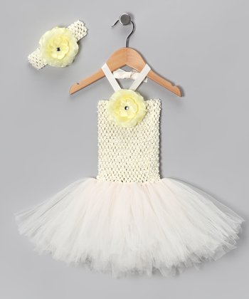Cream Tutu Dress & Headband - Infant & Toddler