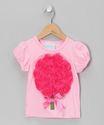 Pink Tulle Flower Bouquet Tee - Infant, Toddler & Girls