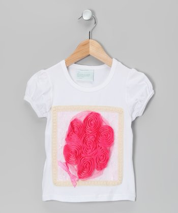 White & Hot Pink Ruffle Flower Tee - Infant, Toddler & Girls