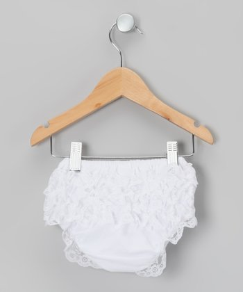 White Lace Ruffle Diaper Cover - Infant & Toddler