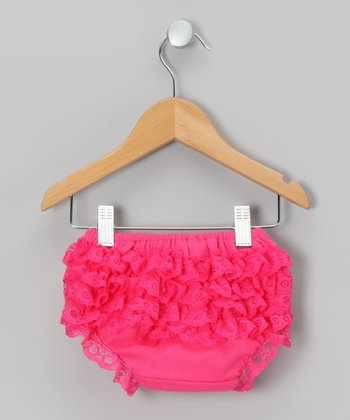 Hot Pink Lace Ruffle Diaper Cover - Infant & Toddler