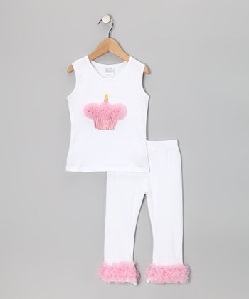 White & Pink Cupcake Tank & Pants - Infant, Toddler & Girls