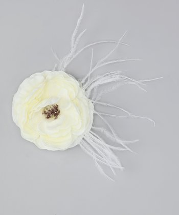 Vanilla Flower & Feather Clip