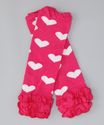 Hot Pink Heart Leg Warmers