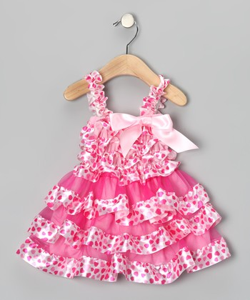 Pink & White Heart Ruffle Dress - Toddler & Girls