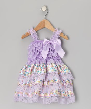 Lavender Lace Floral Ruffle Dress - Infant, Toddler & Girls