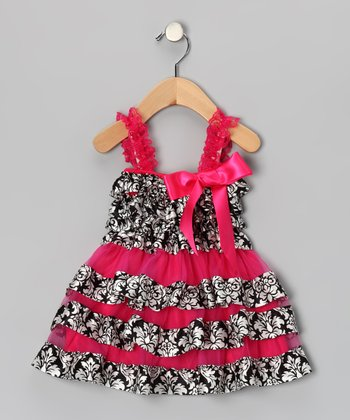 Black & Hot Pink Damask Ruffle Dress - Infant, Toddler & Girls