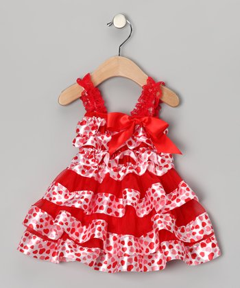 Red & White Heart Ruffle Dress - Infant, Toddler & Girls