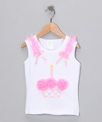 White & Pink Cupcake Tank - Infant, Toddler & Girls