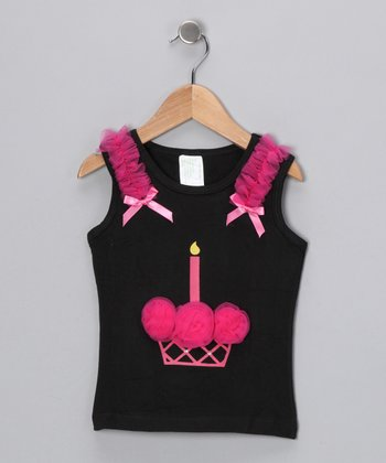 Black & Hot Pink Cupcake Tank - Infant, Toddler & Girls