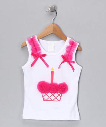 White & Hot Pink Cupcake Tank - Infant, Toddler & Girls