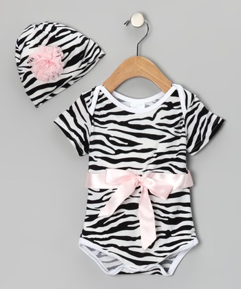 Light Pink Zebra Bodysuit & Beanie - Infant