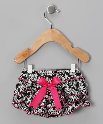 White & Pink Damask Bow Diaper Cover - Infant & Toddler