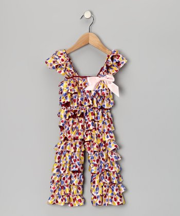 Pink & Blue Heart Ruffle Jumpsuit - Infant & Toddler