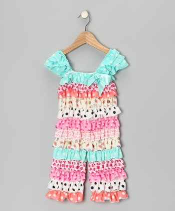 Aqua & Pink Heart Ruffle Jumpsuit - Infant & Toddler