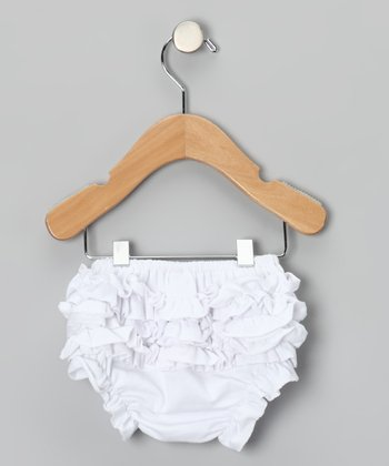 White Ruffle Diaper Cover - Infant & Toddler