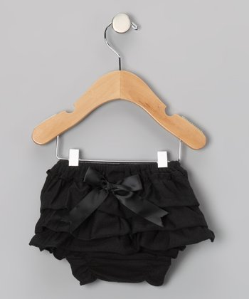 Black Bow Ruffle Diaper Cover - Infant & Toddler
