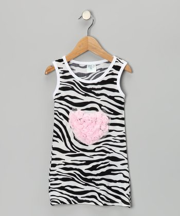 Pink Zebra Rosette Heart Dress - Infant, Toddler & Girls